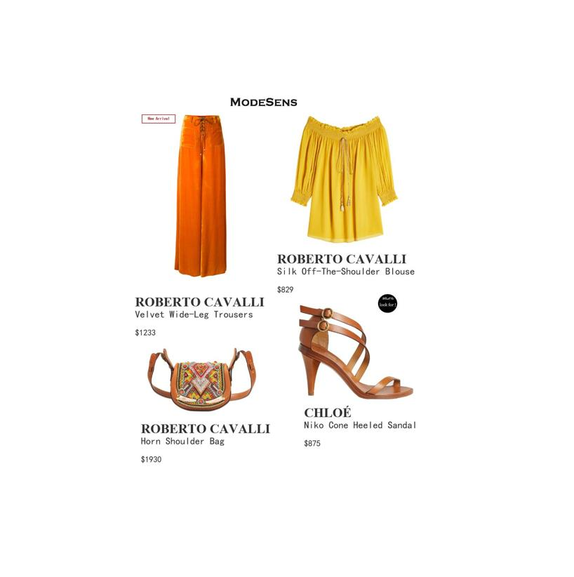 ROBERTO CAVALLI Silk Off-The-Shoulder Blouse, Yellow