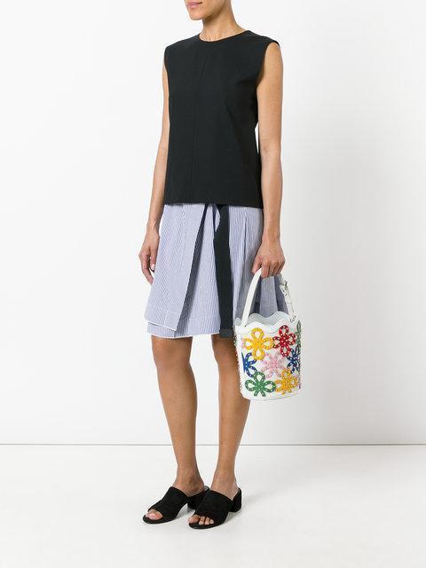 SARA BATTAGLIA Floral Leather Bucket Bag