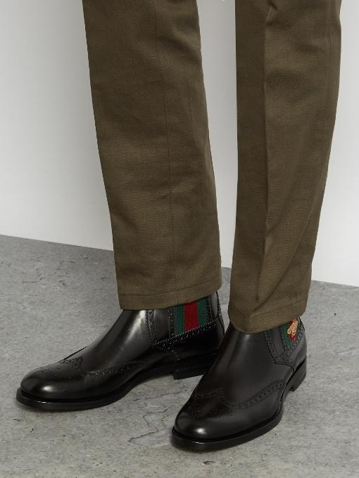 GUCCI Strand Leather Wingtip Chelsea Boots in Black