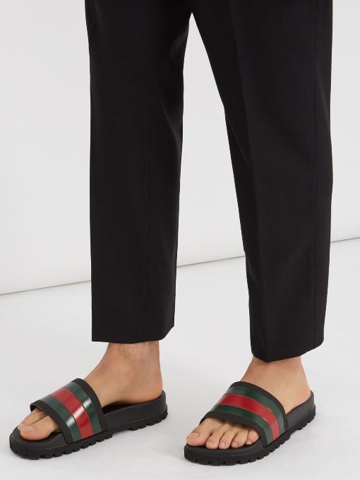 GUCCI Pursuit '72 Rubber Slide Sandals - Black, Green, Red Size 8 M in Black Multi