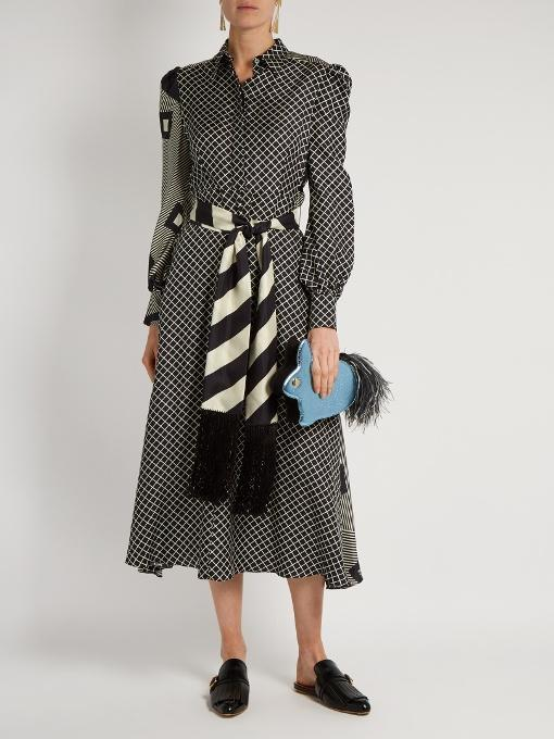 HILLIER BARTLEY Graphic-Print Silk-Twill Dress, Black Cream