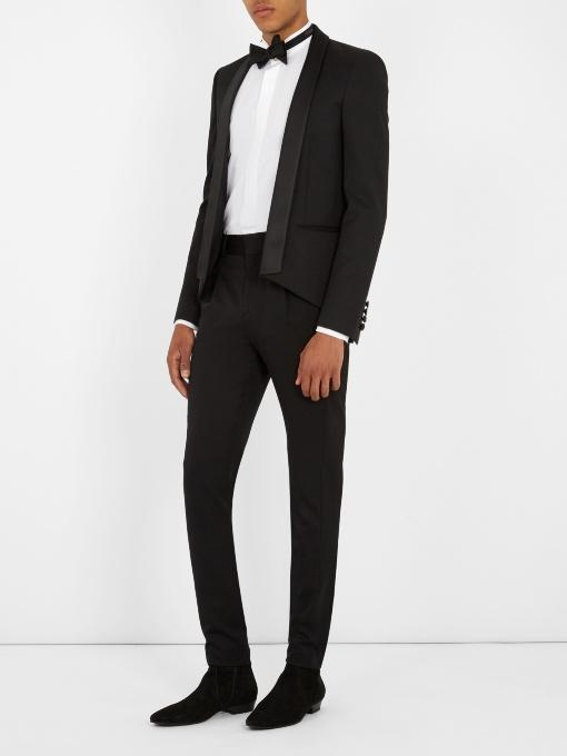 SAINT LAURENT Classic Shawl Collar Virgin Wool Jacket