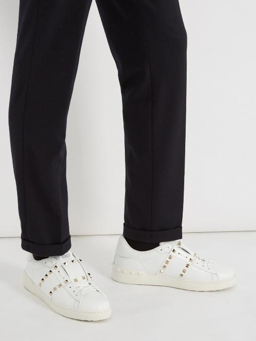 VALENTINO Rockstud Untitled #11 Low-Top Leather Trainers