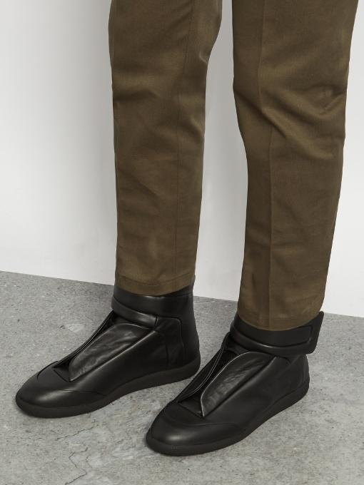 MAISON MARGIELA Future Full-Grain Leather And Neoprene High-Top Sneakers