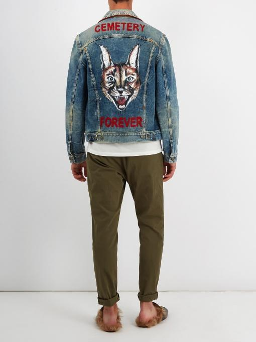 GUCCI Blue Denim 'Loved' Angry Cat Embroidery Jacket