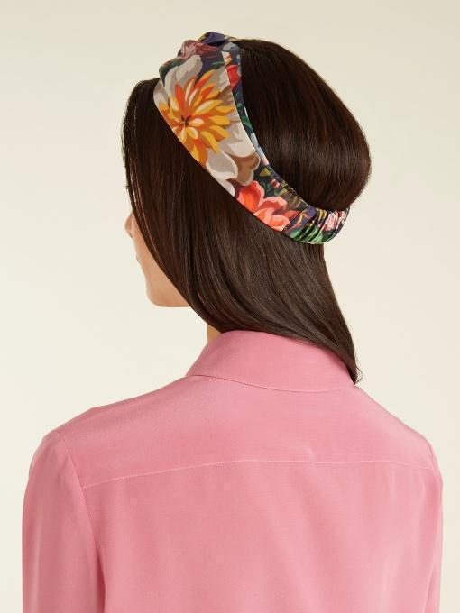 GUCCI Pleated-Placket Silk Crepe De Chine Blouse, Pink