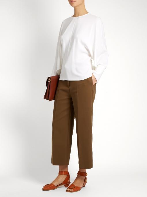 STELLA MCCARTNEY Cady Dolman Cape-Sleeve Top, Red, White