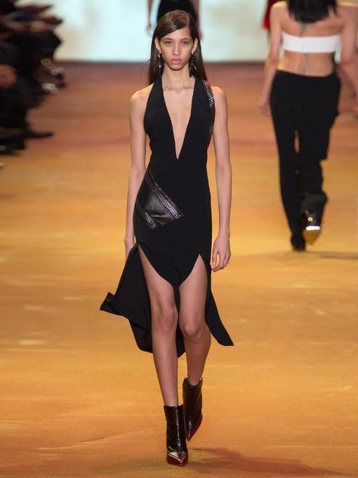 MUGLER V-Neck Chain-Embellished Crepe Dress, Black