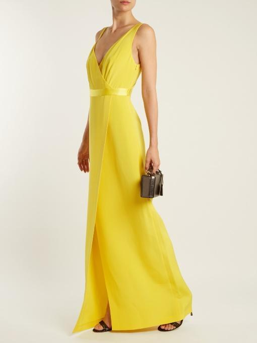 DIANE VON FURSTENBERG Asymmetric Sleeveless Side-Slit Gown, Yellow