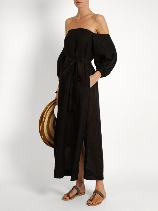 LISA MARIE FERNANDEZ Balloon-Sleeve Off-The-Shoulder Linen Dress