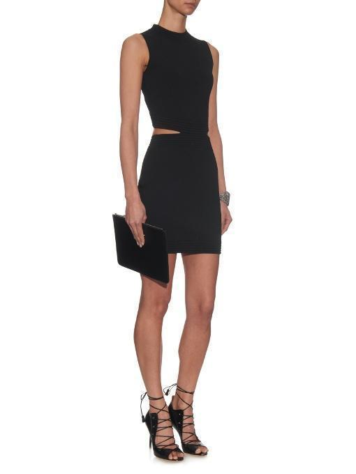 MUGLER Cut-Out Knitted Dress, Black