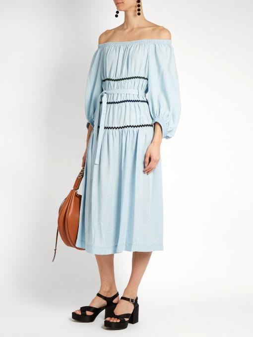SONIA RYKIEL Ric-Rac Trimmed Off-The-Shoulder Dress, Blue