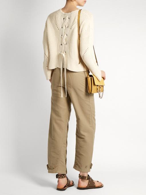 ISABEL MARANT Grifin Knit Lace-Up Sweater, Neutral, Neutral Pattern, Beige