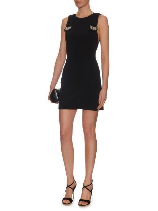 MUGLER Sleeveless Cargo-Pocket Crepe Dress, Black