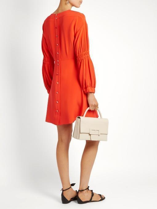 TIBI Balloon-Sleeved Silk-Crepe Dress, Vermillion Red