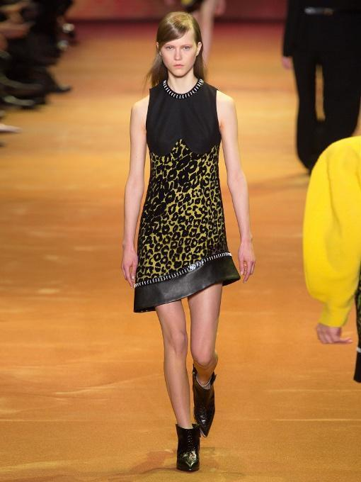 MUGLER Leopard-Print Tulle And Crepe Dress, Yellow Multi