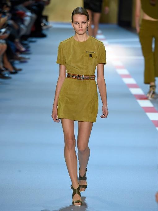MUGLER Short-Sleeved Belted Suede Dress, Khaki