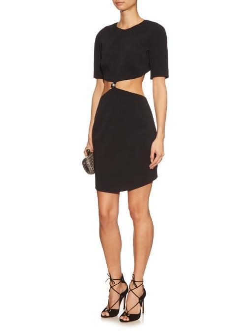 MUGLER Cut-Out Cady Dress, Black