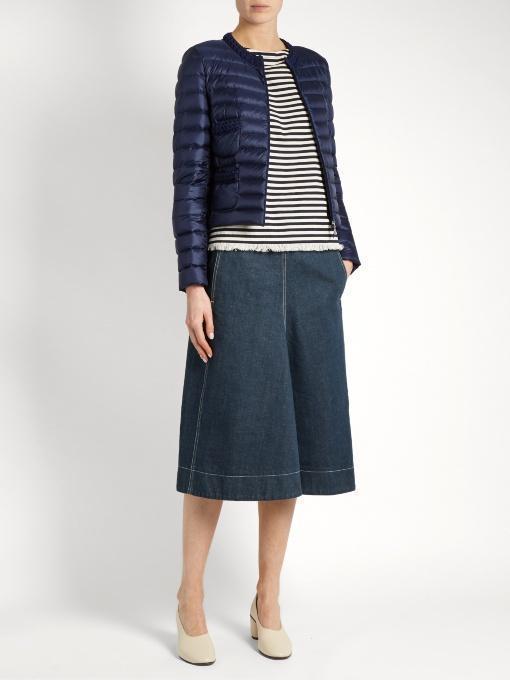 MONCLER Pompom-Embellished Striped Cotton Top, Cream Stripe