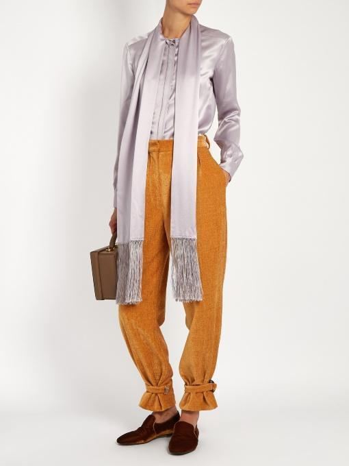 HILLIER BARTLEY Fringed-Scarf Satin Blouse, Light Purple