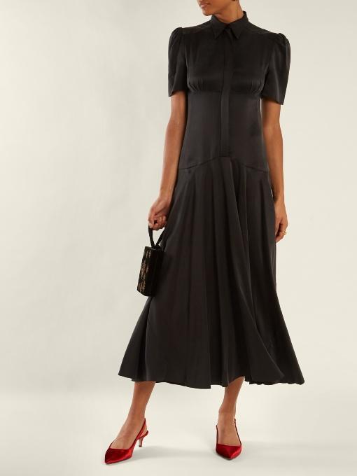 HILLIER BARTLEY Plimpton Panelled Sandwashed-Silk Midi Dress, Black