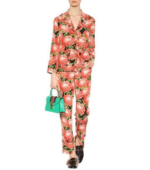 GUCCI Floral-Print Pajama Pants, Multi, Red