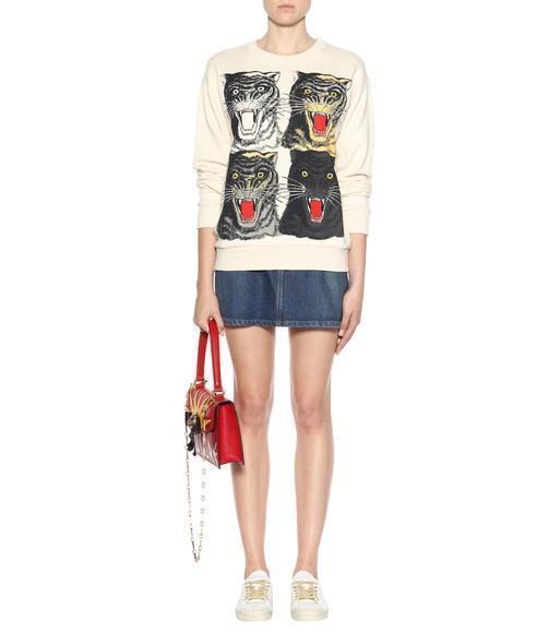 GUCCI Osiride Embellished Textured-Leather Shoulder Bag, Red/White