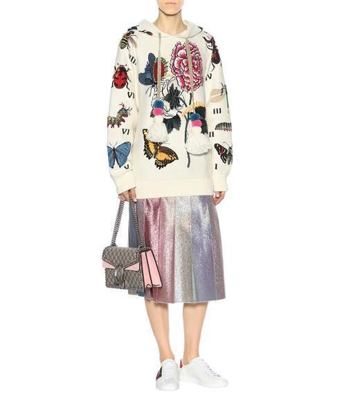 GUCCI Embroidered Wool Hooded Sweatshirt, Almoed Flower