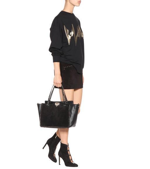 SAINT LAURENT Studded Suede Mini Skirt