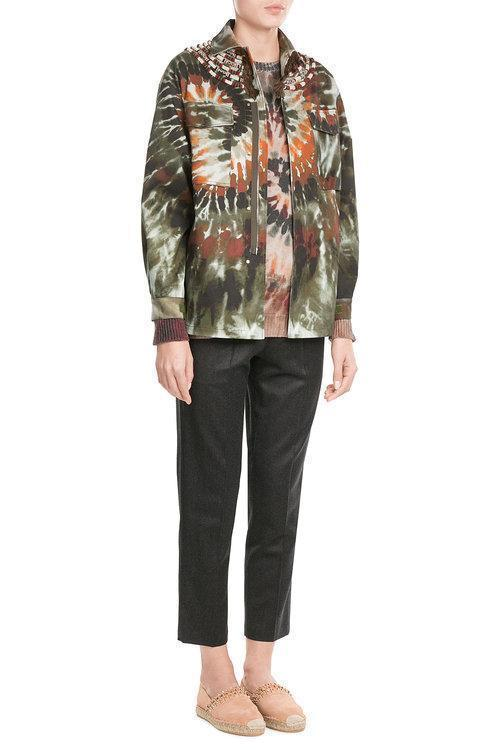 VALENTINO Printed Cotton Jacket With Fringed Embellishment in Multicolored