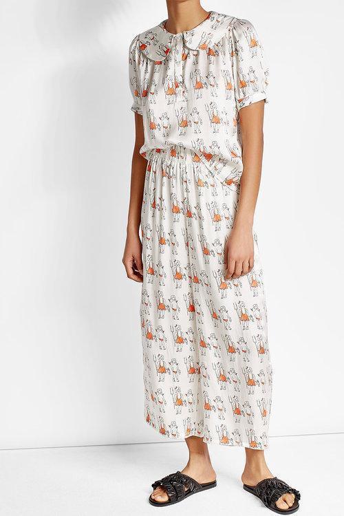 SHRIMPS Theodora Silk Pajama Blouse, Cream/Red