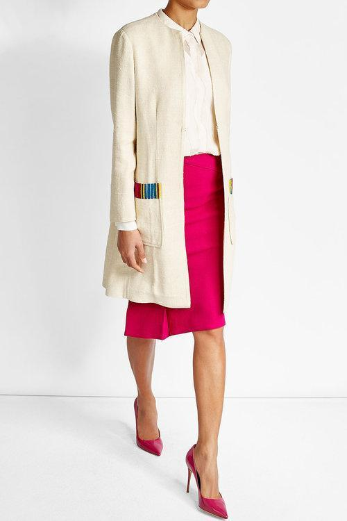 ETRO Embroidered Silk Blend Coat, White