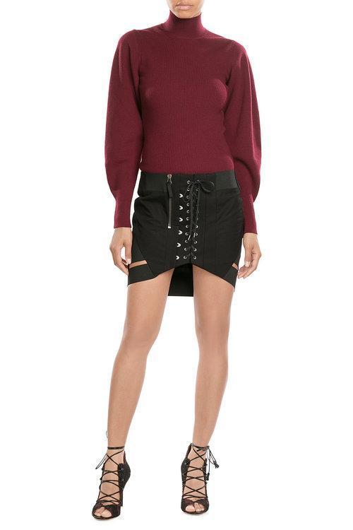 MUGLER Wool Pullover With Voluminous Sleeves, Red