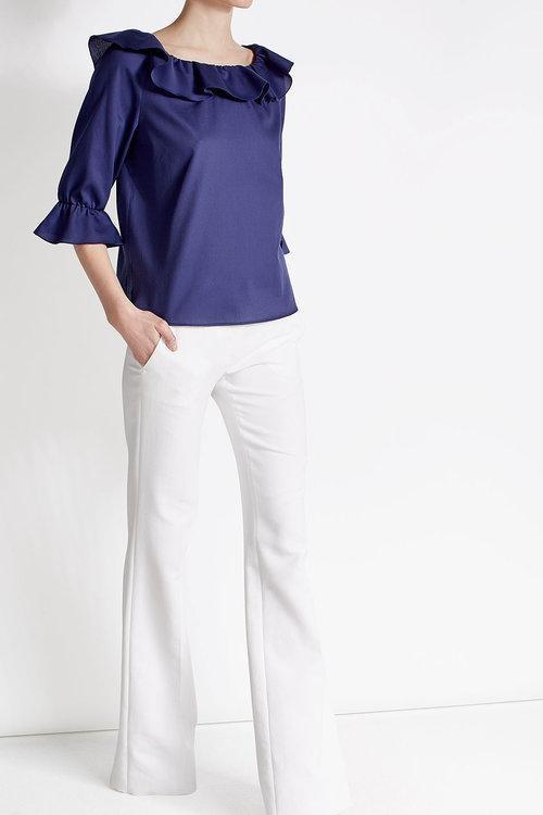 PAULE KA Cotton Blouse With Ruffles, Blue