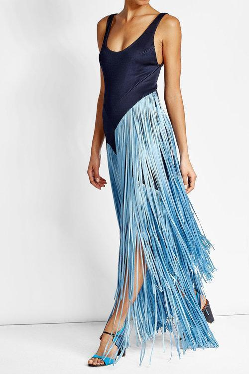 GALVAN Carmen Tank Gown With Contrast Fringe, Dark Blue