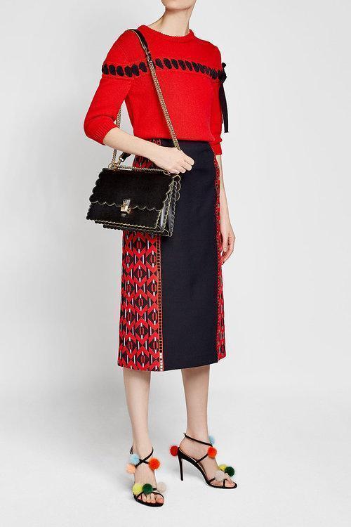 FENDI Small Kan I Scallop Leather Shoulder Bag - Black