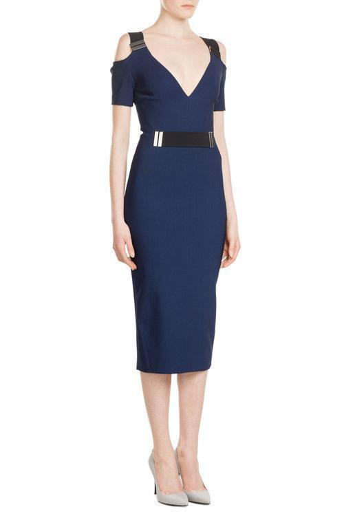 MUGLER Midi Dress With Cut-Out Shoulders, Blue