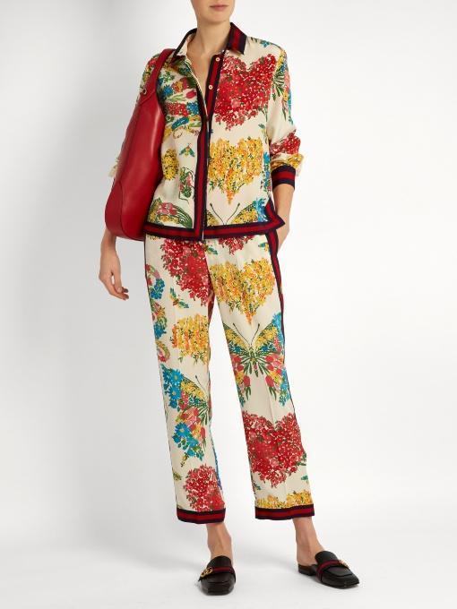 GUCCI Grosgrain-Trimmed Printed Silk Crepe De Chine Blouse