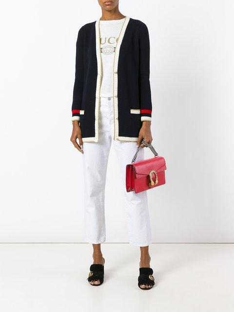 GUCCI Embroidered Oversized Knit Cardigan, Dark Blue