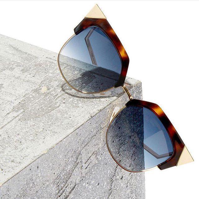 FENDI 54Mm Metal Tipped Cat Eye Sunglasses - Havana/ Gold
