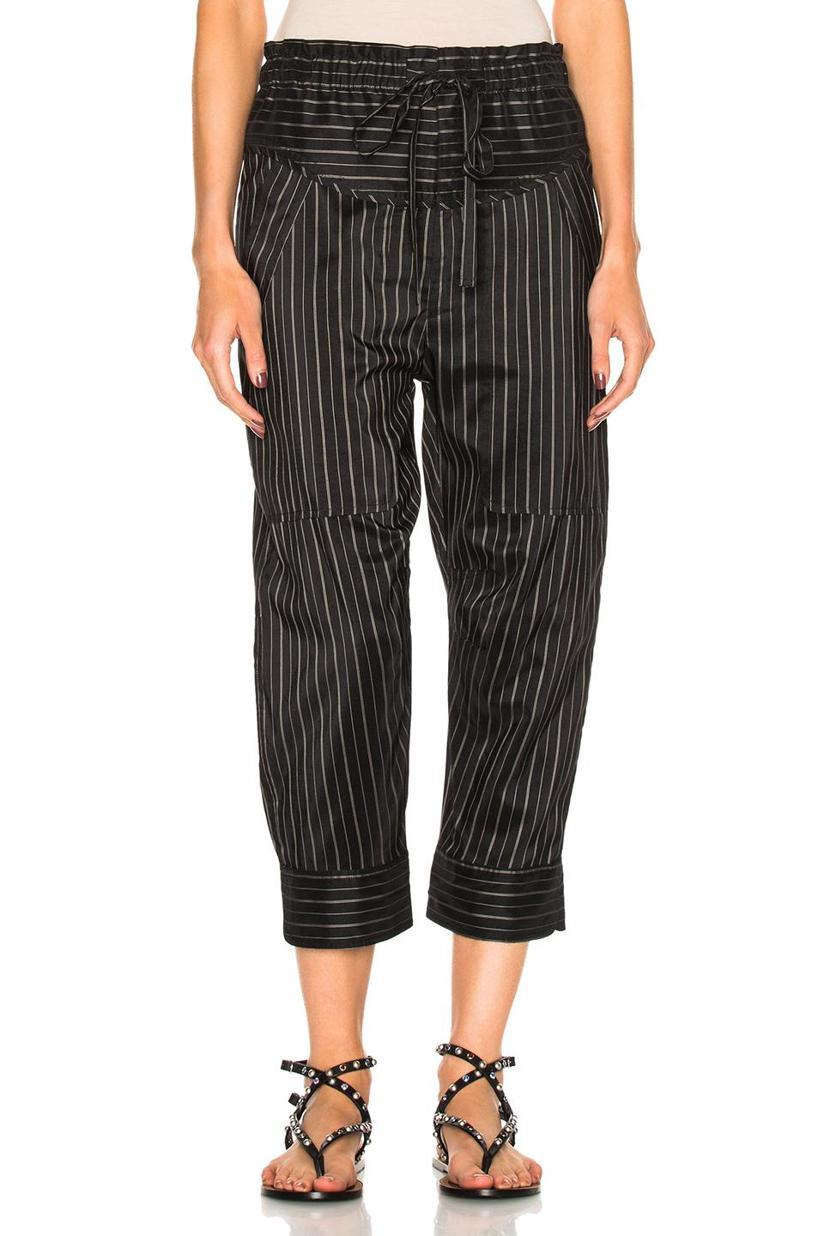 ISABEL MARANT Shantel Striped Silk-Blend Cropped Trousers, Black