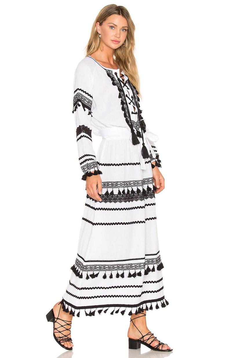 DODO BAR OR Tiered Pom Pom Maxi Dress