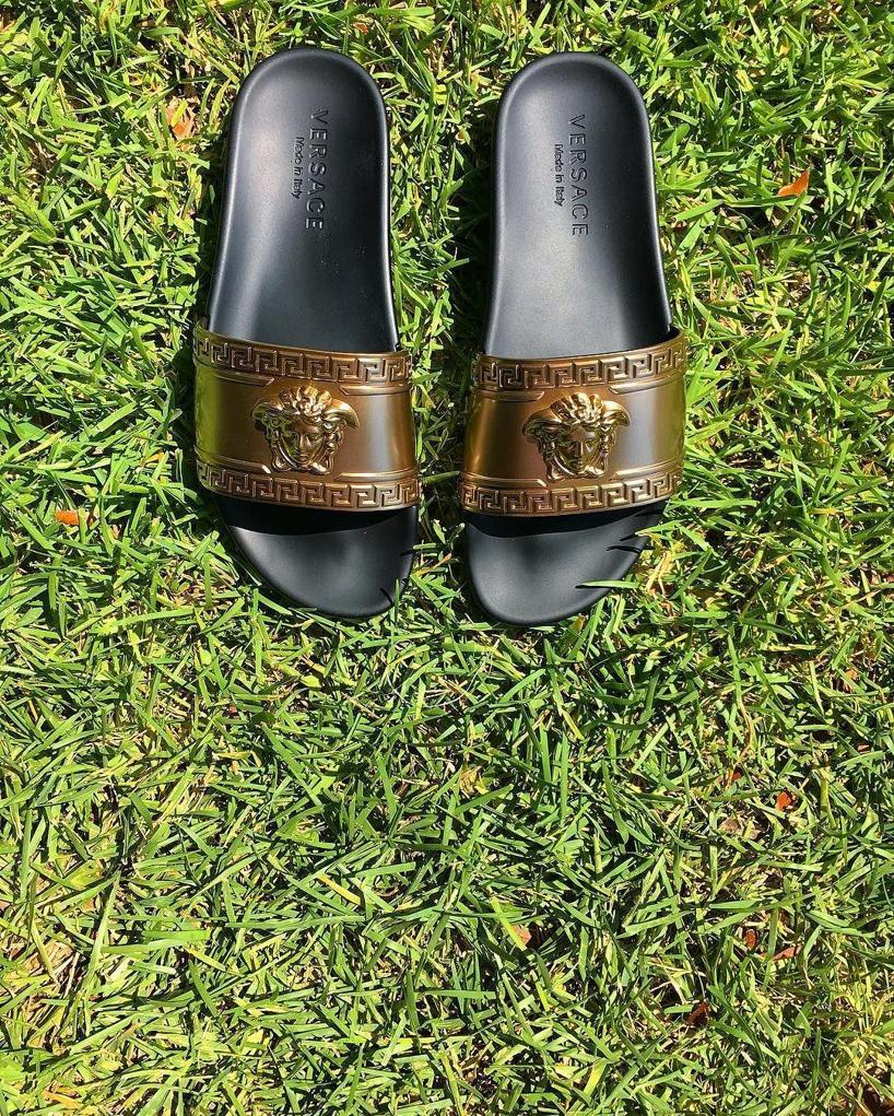 VERSACE Metallic Medusa-Head Slide Sandal, Black/Gold