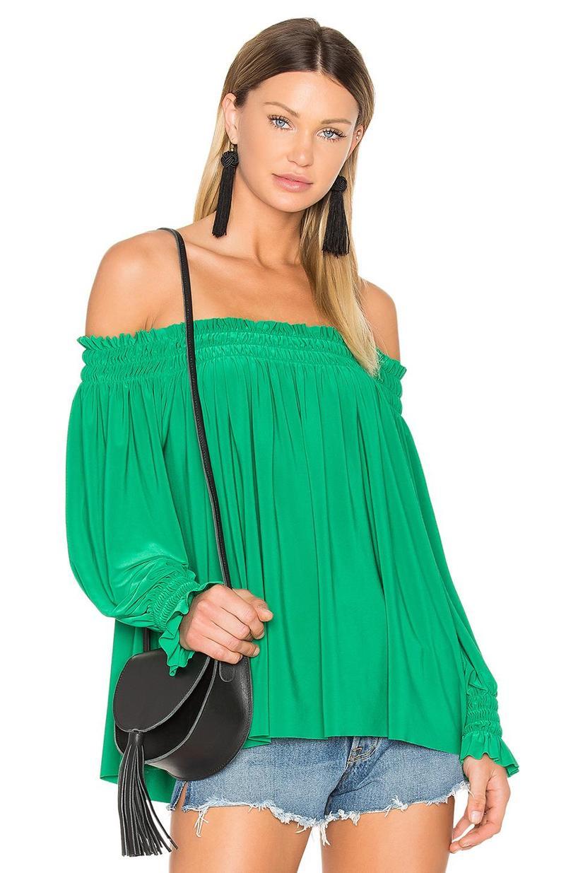 NORMA KAMALI Peasant Top, Green