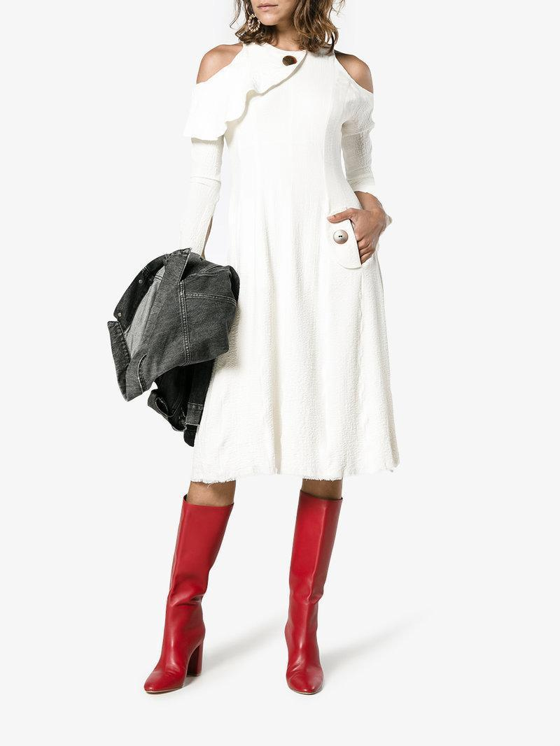 GIANVITO ROSSI Red Leather Milano 90 Knee High Boots