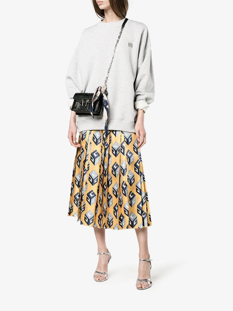 GUCCI Women'S Gg Wallpaper Print Pleated Skirt In Yellow, Yellow Pattern