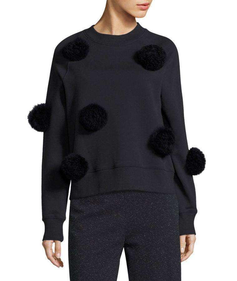 TIBI Heather Grey Alpaca Pom Pom Cropped Sweater