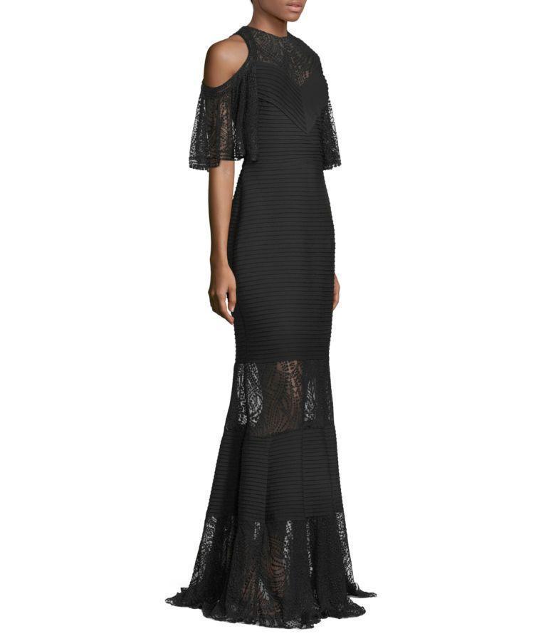 TADASHI SHOJI Esme Embroidered Gown W/ Jersey Pintuck, Black   ModeSens