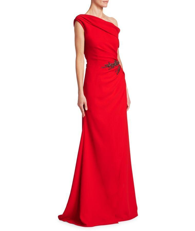 DAVID MEISTER VIBRANT ONE-SHOULDER GOWN, RED | ModeSens