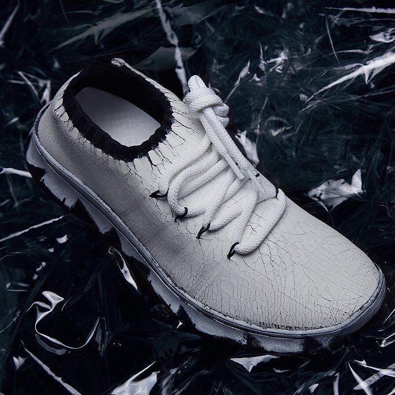 MAISON MARGIELA Black & Silver Painted Runner Sneakers